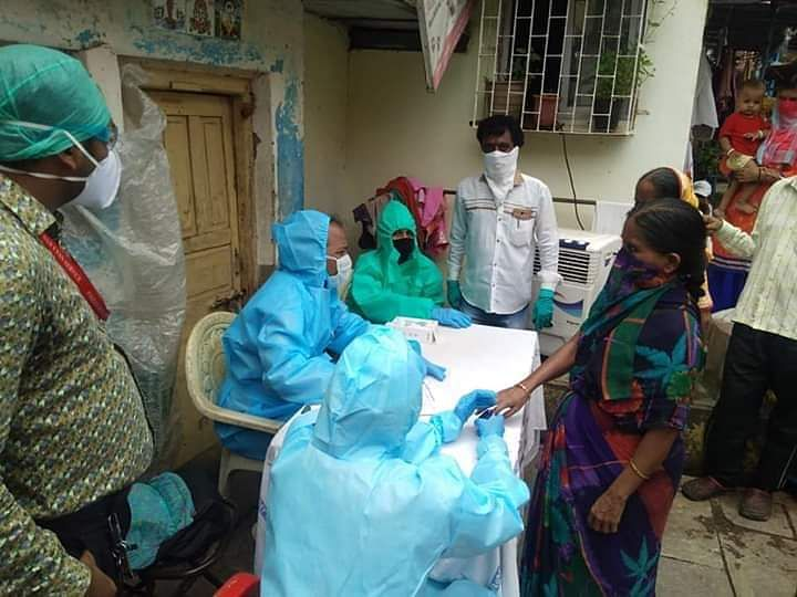 A fever camp set up in Dharavi.