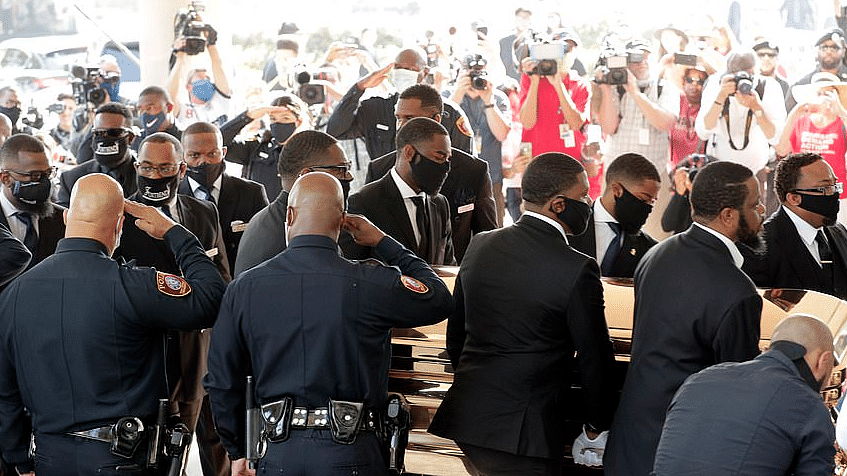 Cops Attend George Floyd's Funeral in Houston, Salute His Casket