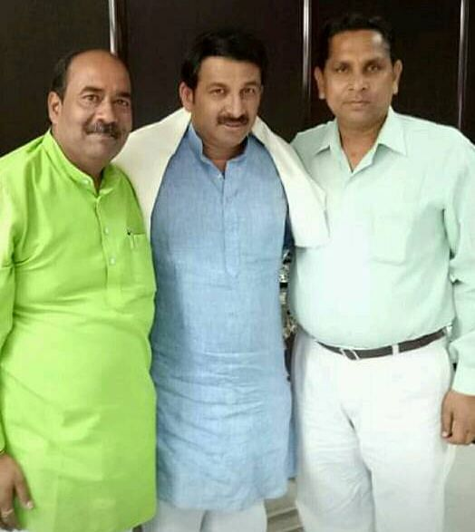 Kanhaiya Lal (right) with former Delhi BJP chief and NE Delhi MP Manoj Tiwari