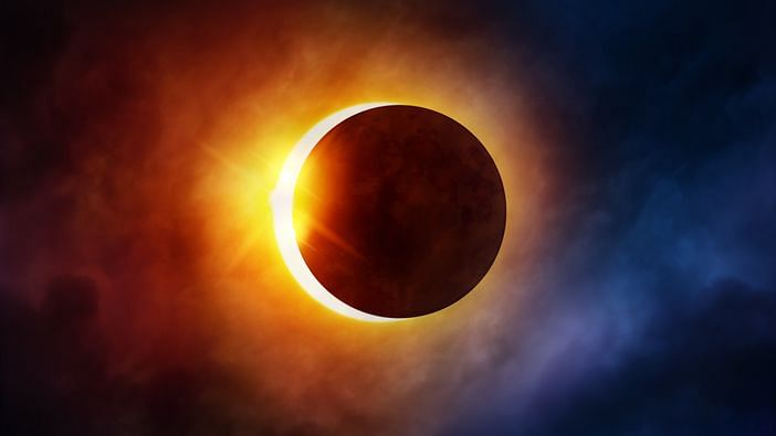 In Photos: The First Solar Eclipse (Surya Grahan) of the Year