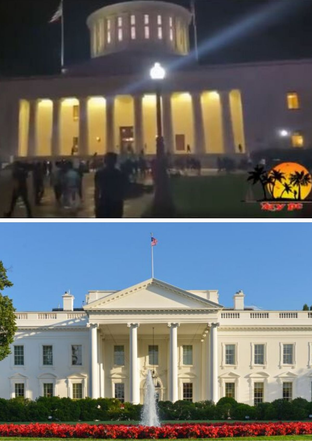 Building in the viral video (Above), The White House (Below)/Shutterstock Image