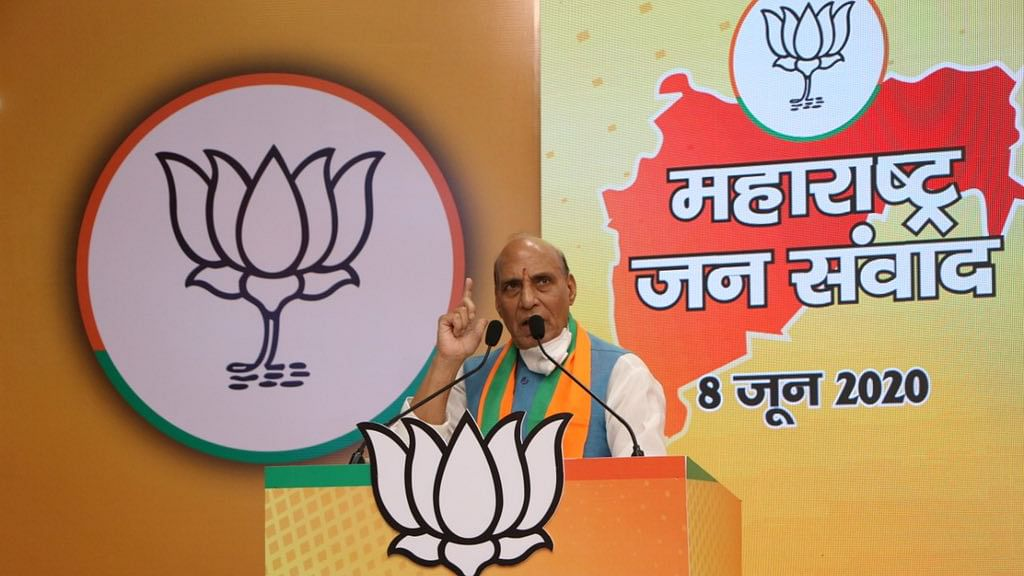 Rajnath Singh addresses virtual rally.