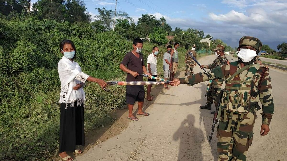 Assam Rifles troops participating in the 'Umbrella Campaign'