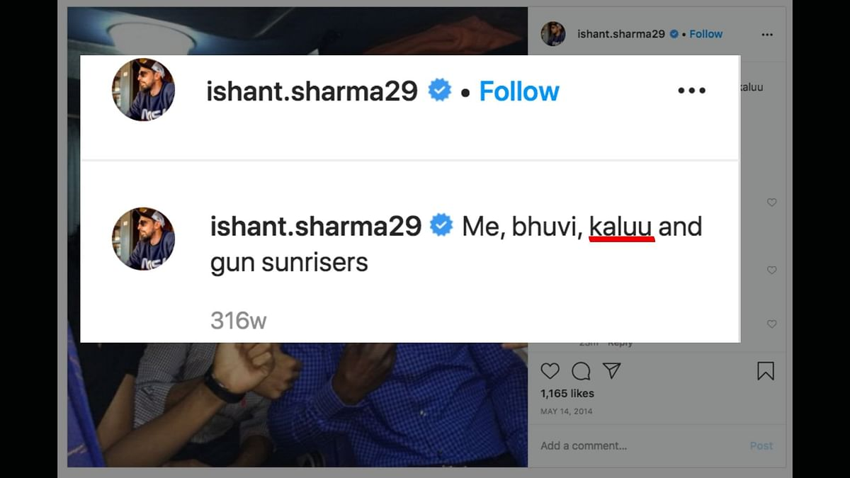 Ishant's Insta Post Calling Sammy 'Kalu' Corroborates His Claim