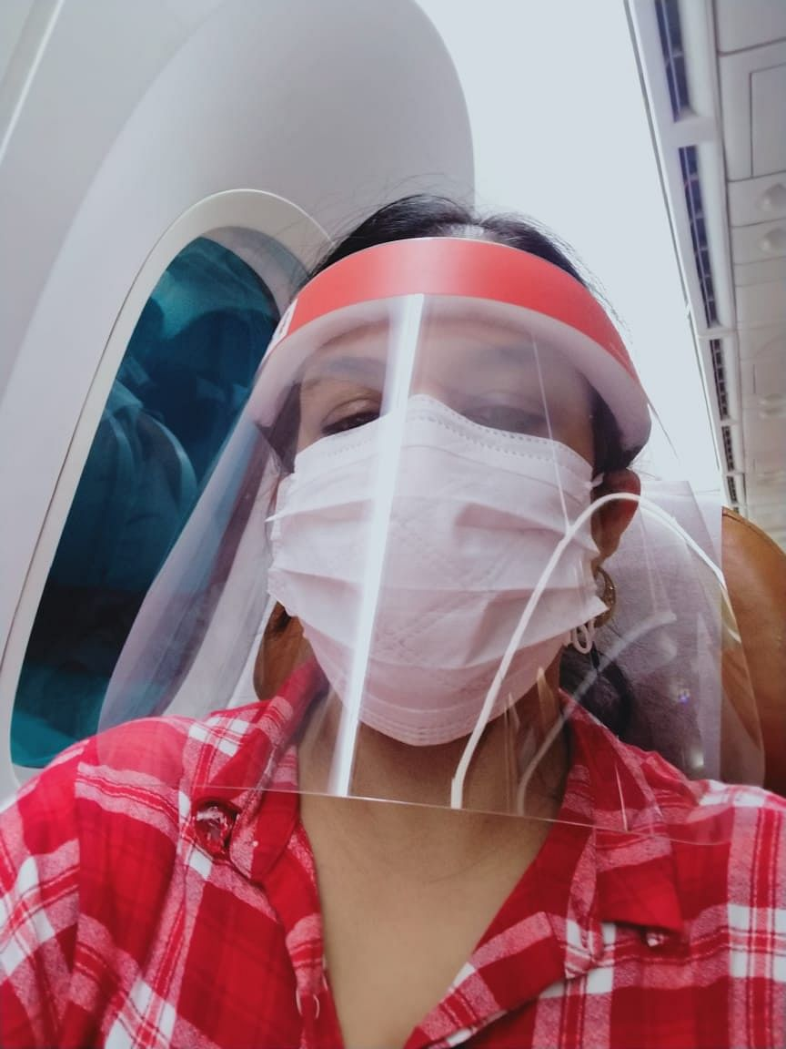 They handed over masks, face shields and sanitizers to us on the way into the aircraft and requested to be seated at all times.