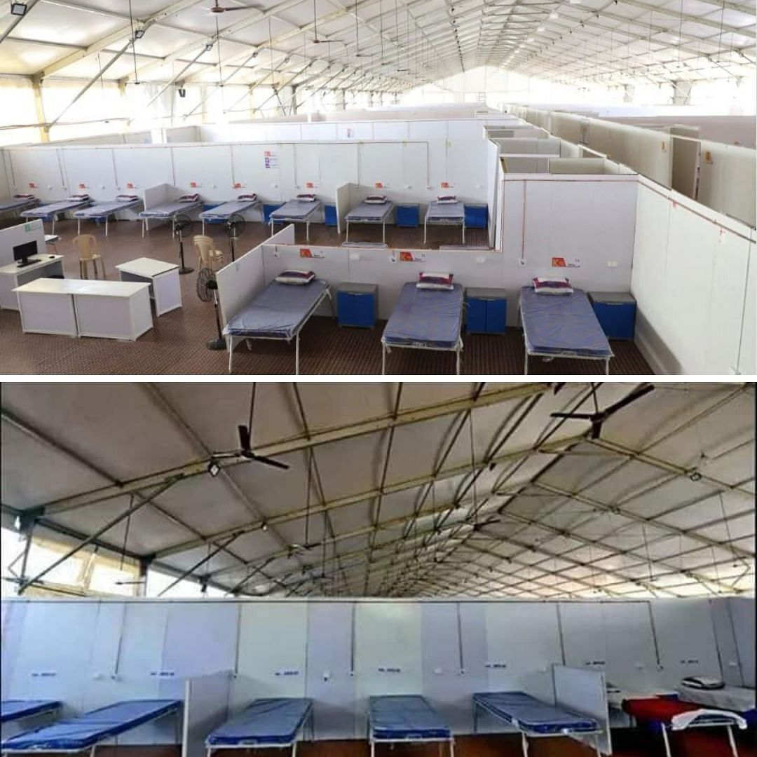 "Image of Mumbai COVID facility by <a href=""https://www.cnbctv18.com/healthcare/in-pics--bkcs-makeshift-covid-19-hospital-set-to-double-capacity-as-mumbai-struggles-with-coronavirus-6103051.htm"">cnbc tv18</a> (above), Image shared by AAP (below)"