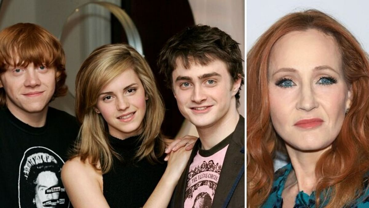 The cast of <i>Harry Potter (</i>L) and JK Rowling (R)