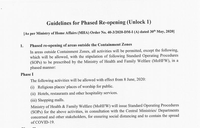 MHA order detailing guidelines for Unlock 1.