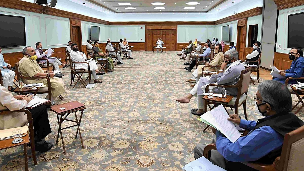 Prime Minister Narendra Modi chairs a cabinet meeting on 1 June.