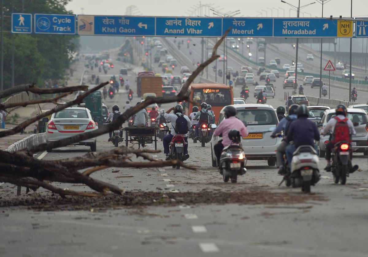 An uprooted tree lies on a busy road after a dust storm hit New Delhi.