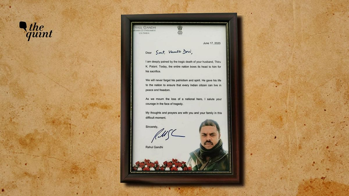Letter written by Rahul Gandhi to the family of martyred soldier.