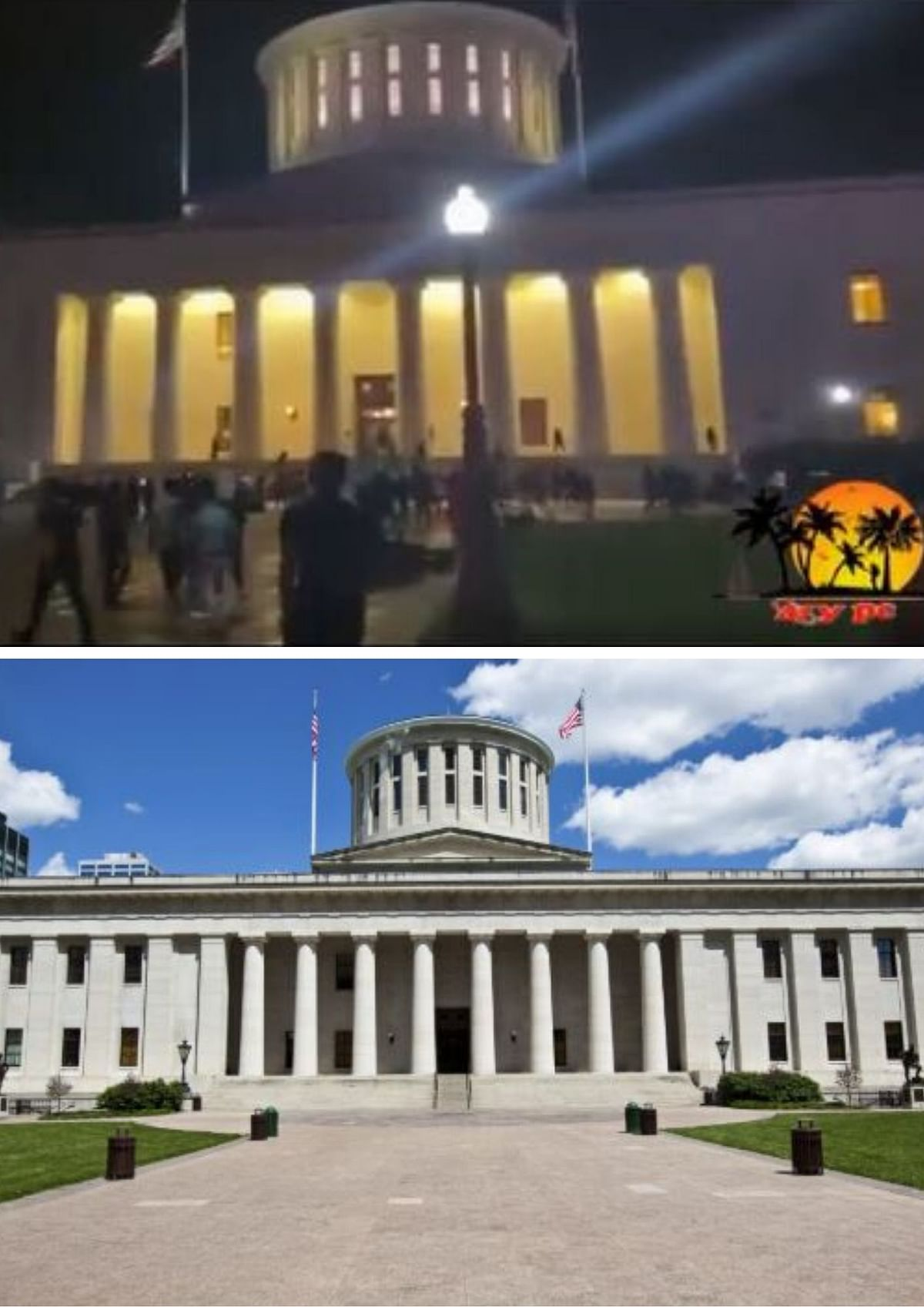 Building in the viral video (Above), Ohio Statehouse (Below)/