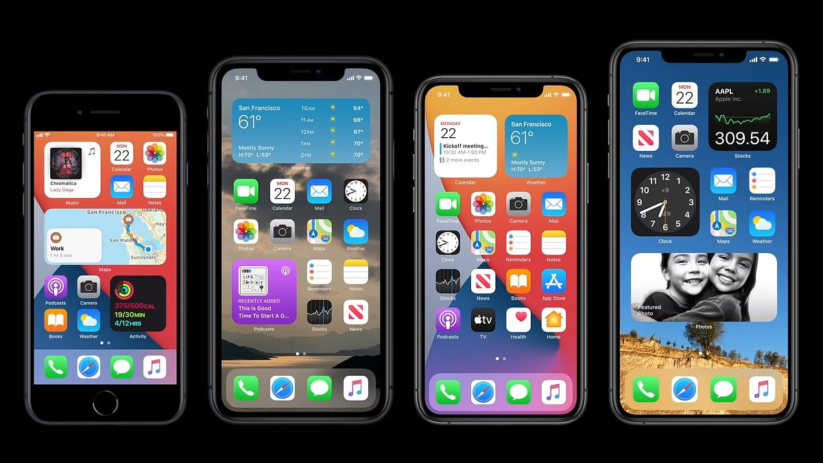 The new look to the Apple home screen.