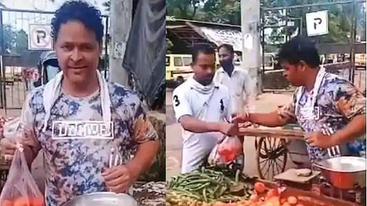 Actor Javed Hyder selling vegetables in Mumbai.