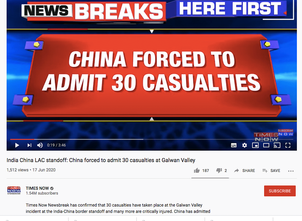 Times Now Airs Fake WhatsApp Forward on Death of 30 Chinese Troops