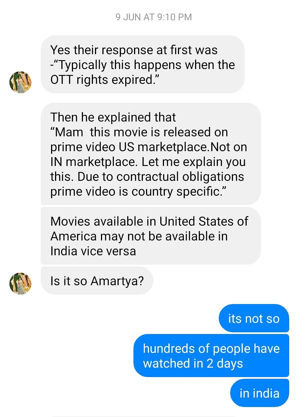 Screenshot of a conversation of the director of <i>Khyanikaa&nbsp;</i>and a viewer.