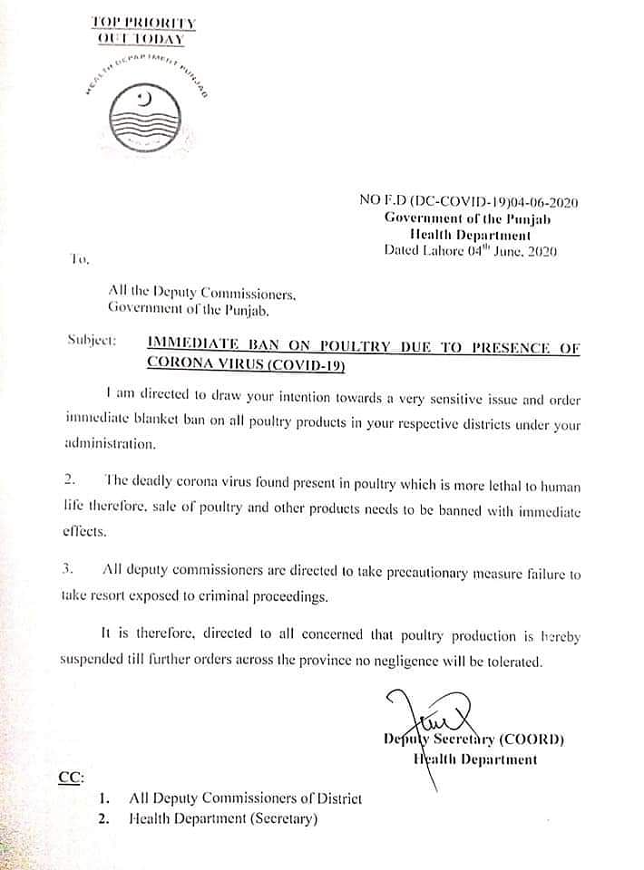 Notification by Pak Punjab Govt Banning Poultry Over COVID is Fake