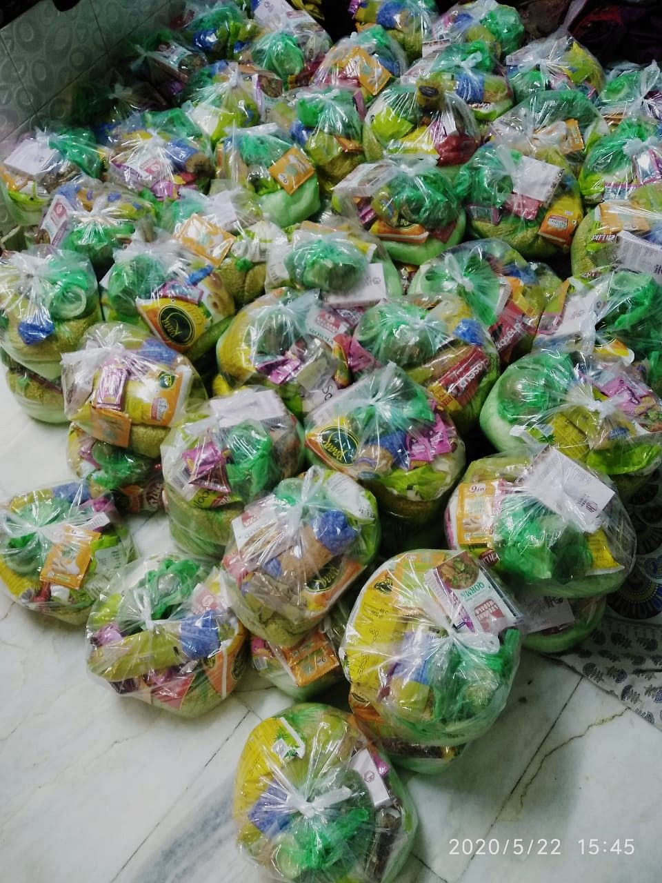 Ration packets ready to be distributed.