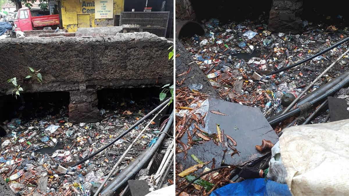 A clogged stormwater drain in Kurla Gaothan area. Picture was taken on 4 June 2020