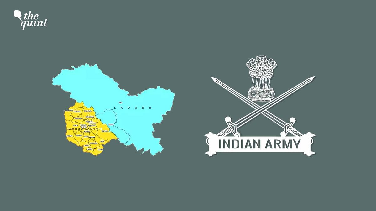 Image of Indian Army symbol + maps of J&K and Ladakh – the two new union territories – used for representational purposes.