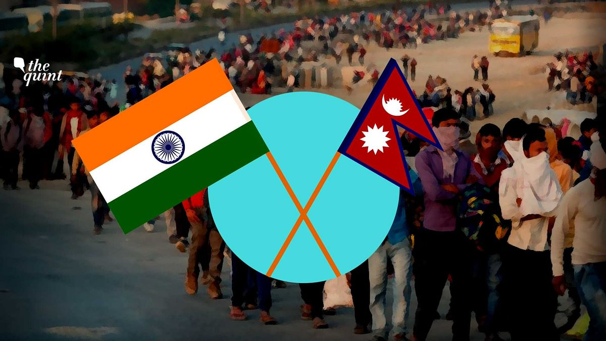 Image of exodus of migrant workers, and Nepal and India's flags (R and L) used for representational purposes.