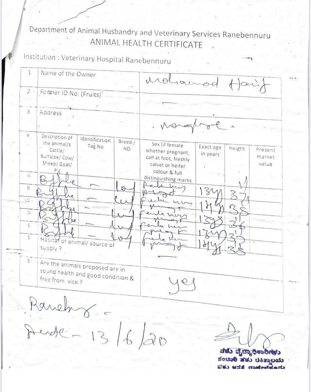 Certificate of fitness obtained from Ranebennur on 13 June