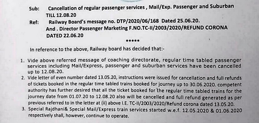 No Regular Trains Till 12 Aug, Special Trains to Continue: Rlys