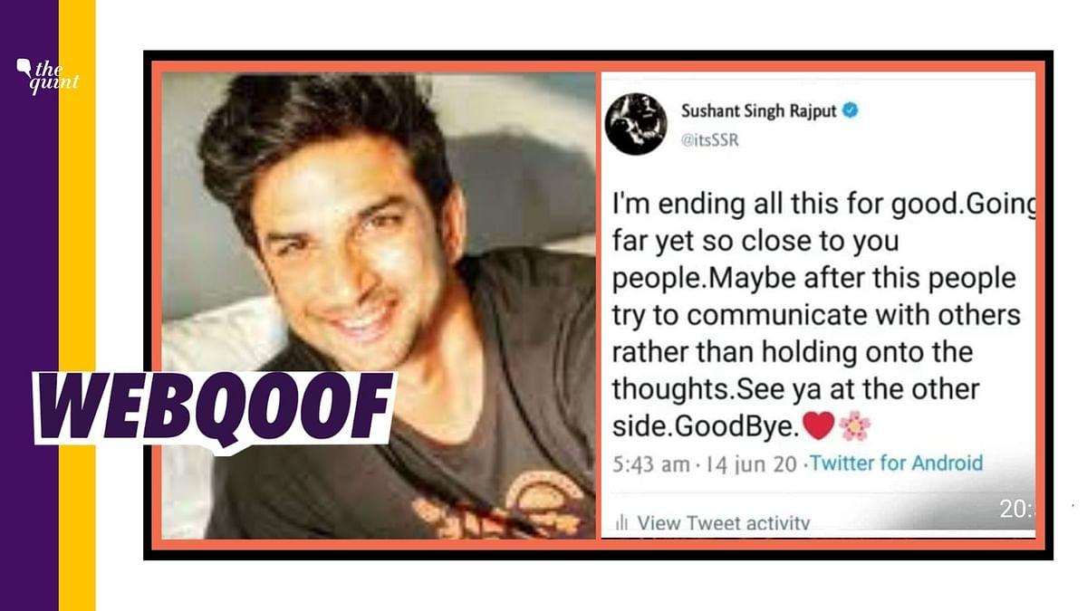 Aaj Tak Shares Fake Tweets as Sushant Singh's 'Last Message'