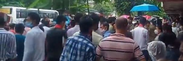 A large number of people staged protest at Noonmati area in Guwahati following the youth's killing.