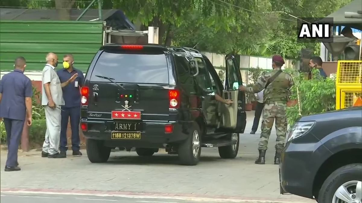 Army Chief arrives at Rajnath Singh's residence.
