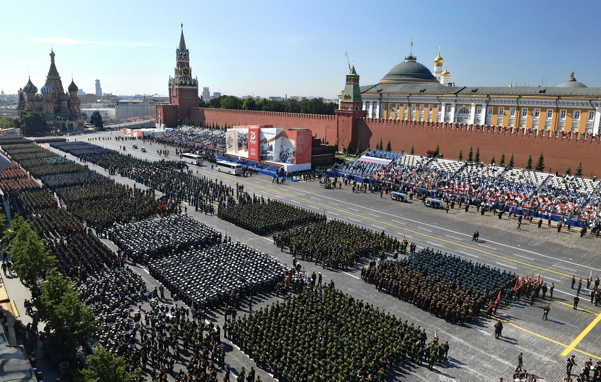 Parade formations are seen ahead of the military parade marking the 75th anniversary of the Nazi defeat on Red Square in Moscow, Russia. The Victory Day parade normally is held on 9 May, the nation's most important secular holiday, but this year it was postponed due to the coronavirus pandemic.