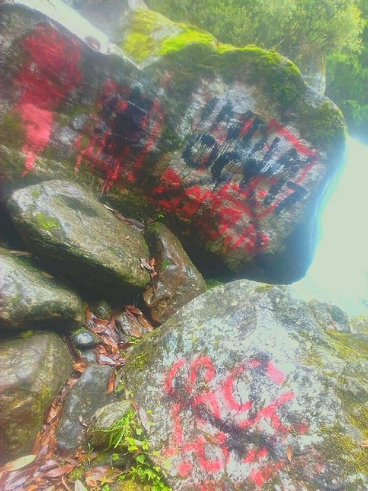 Chinese army's writings on rocks on the Indian side of the border.