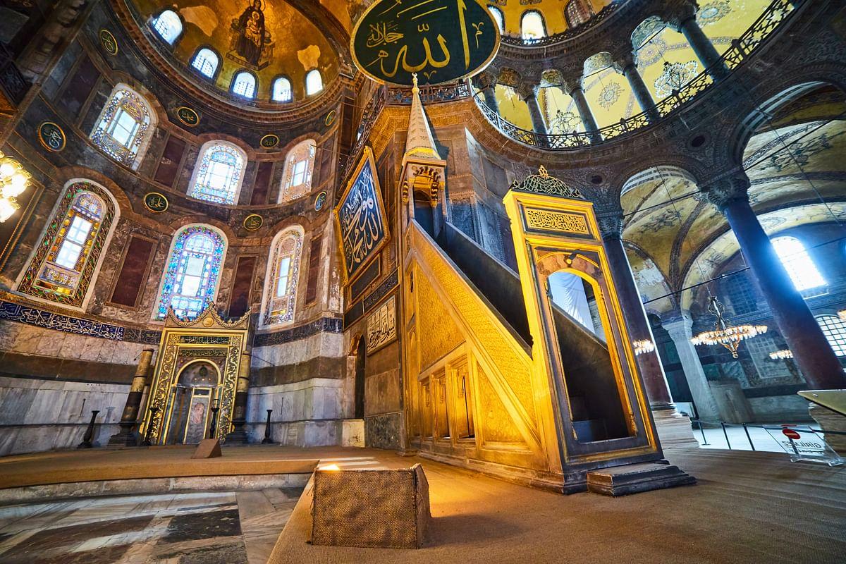 Element of mosque's inside Hagia Sophia