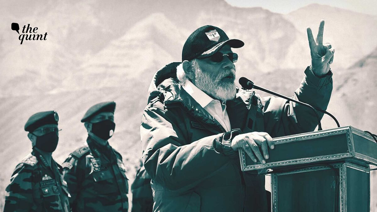 Altered image of PM Narendra Modi addressing soldiers during a visit to Nimu, Ladakh area, Friday, July 3, 2020.