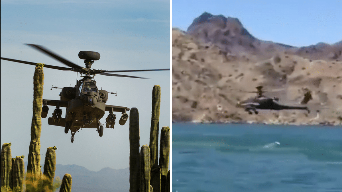 """Apache AH-64 taken from <a href=""""https://www.boeing.com/defense/ah-64-apache/"""">Boeing</a> website (left); Chopper seen at the back in the viral video (right)."""