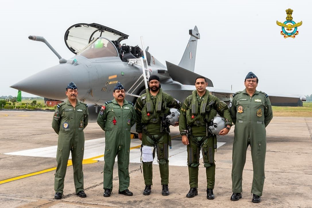 The Chief of the Air Staff Air Chief Marshal RKS Bhadauria and Air Officer Commanding-in-Chief (AOC-in-C) Western Air Command Air Marshal B Suresh welcomed the first five IAF Rafales which arrived at AF Stn Ambala on Wednesday, 29 July.