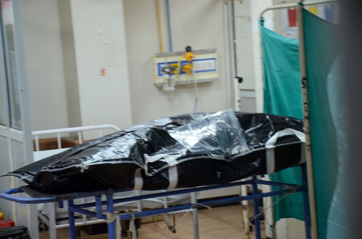The body of gangster Vikas Dubey at the Hallet Hospital in Kanpur.