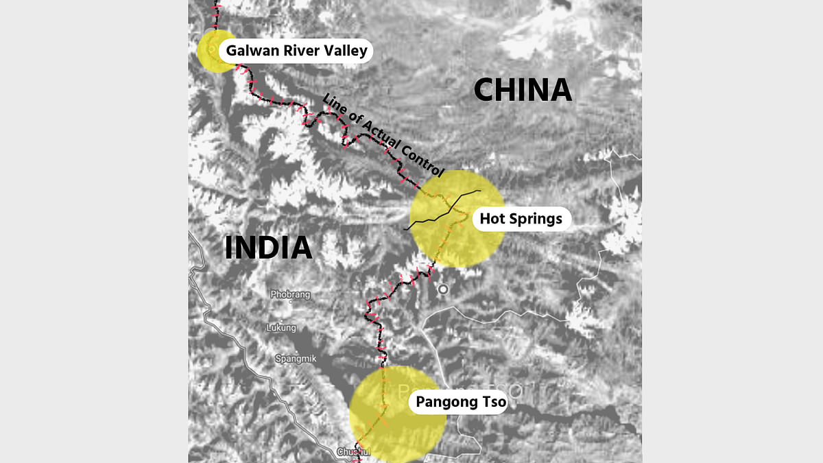 Map showing LAC from Galwan Valley to Pangong Tso in Ladakh.