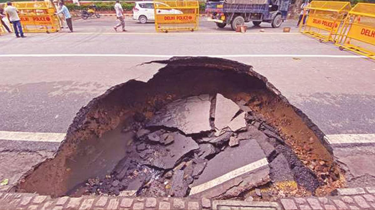 A Portion of Ashoka Road Caves in Following Heavy Rains in Delhi
