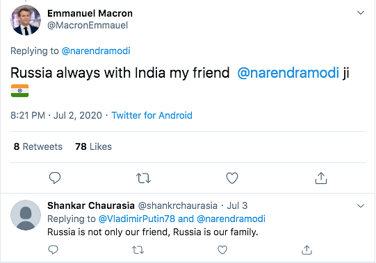 French Prez Congratulating India on Rafales? It's a Parody Account