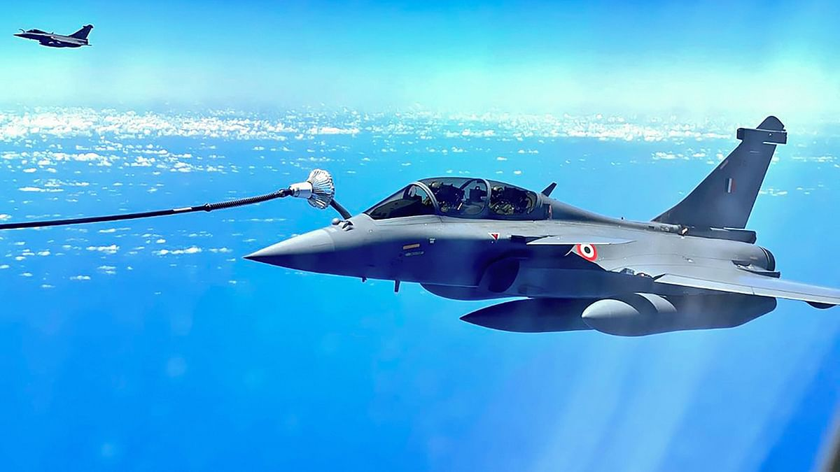 Image of IAF's Rafale fighter jet, being refuelled mid-air en route Ambala.