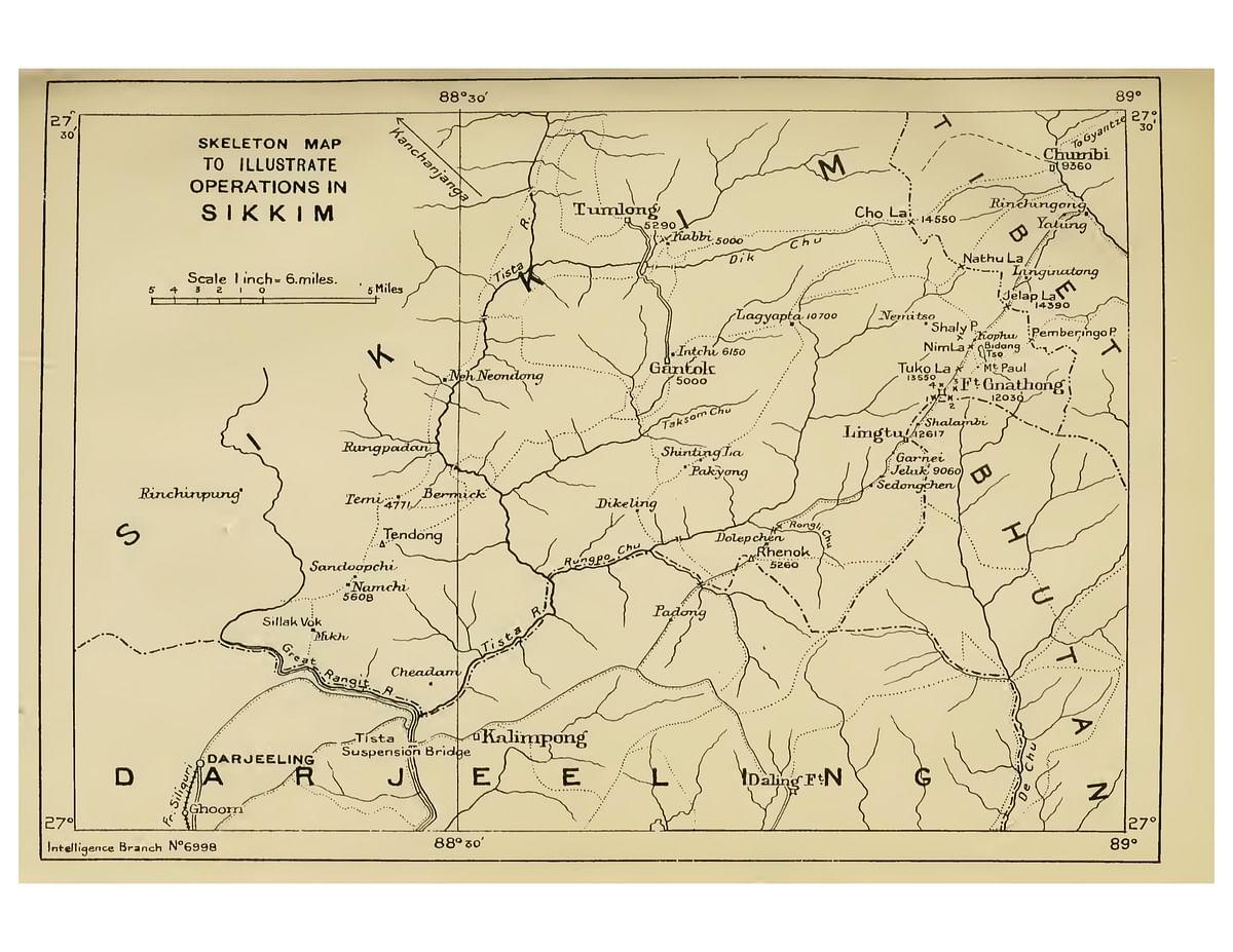 A map referencing the Lingthu hill (Lingtu) and De-Chu River