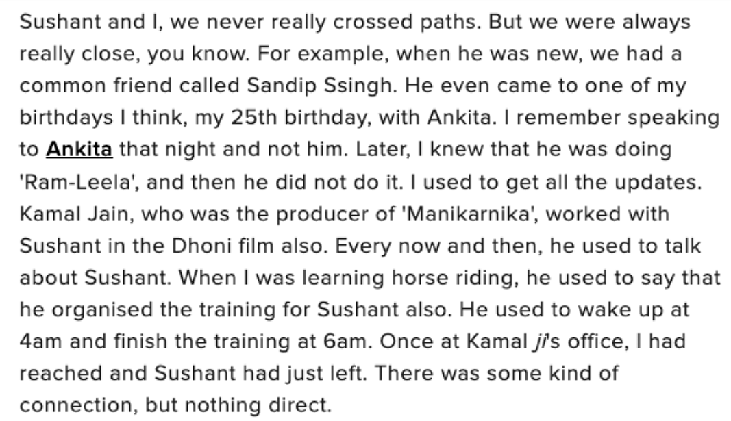 A screenshot of an interview Kangana gave about Sushant recently.