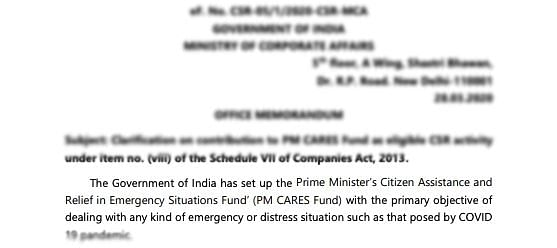 Ministry of Corporate Affairs Notification