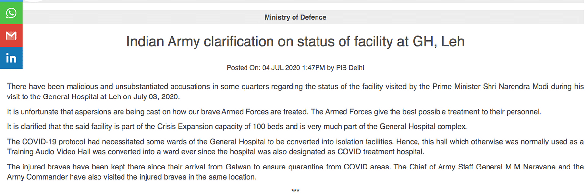 The Indian Army issued a clarification on Prime Minister Narendra Modi's visit to the General Hospital in Leh.
