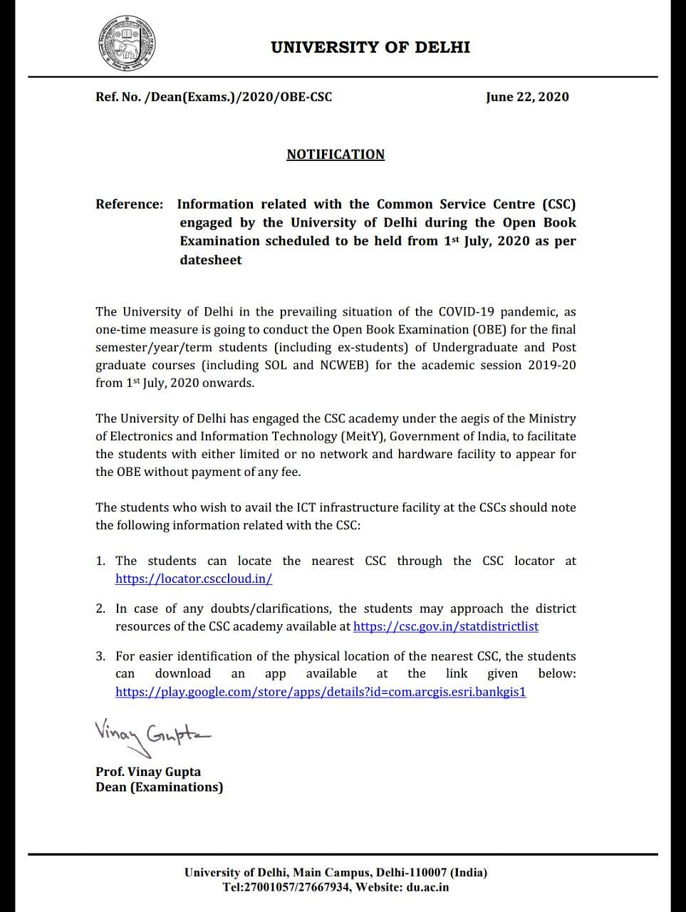 DU's first notification OBE Notification dated 22 June.