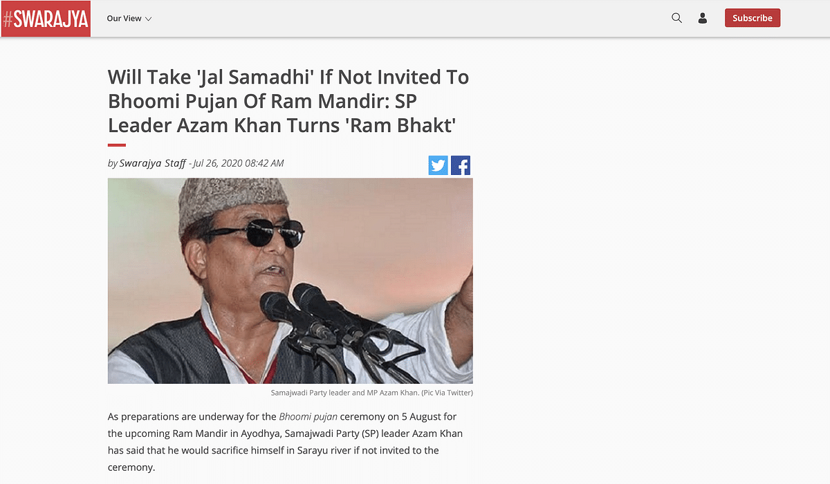 Comment on Ram Mandir Falsely Attributed to SP Leader Azam Khan