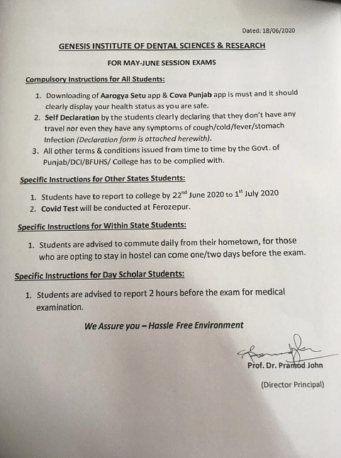 A notice by Genesis Institute of Dental Sciences and Research.