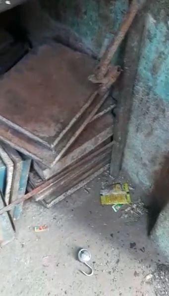 Lock broken, lying on the floor of Mohsin's father's bakery in Shiv Vihar.