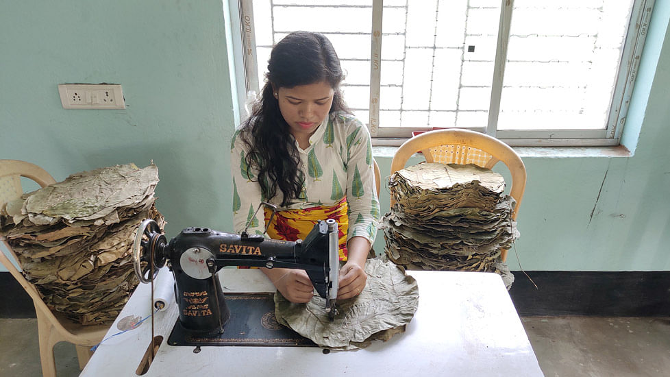 Many women, like Chaitali Sardar, have been able to earn better and consistently by making sal leaf plates.